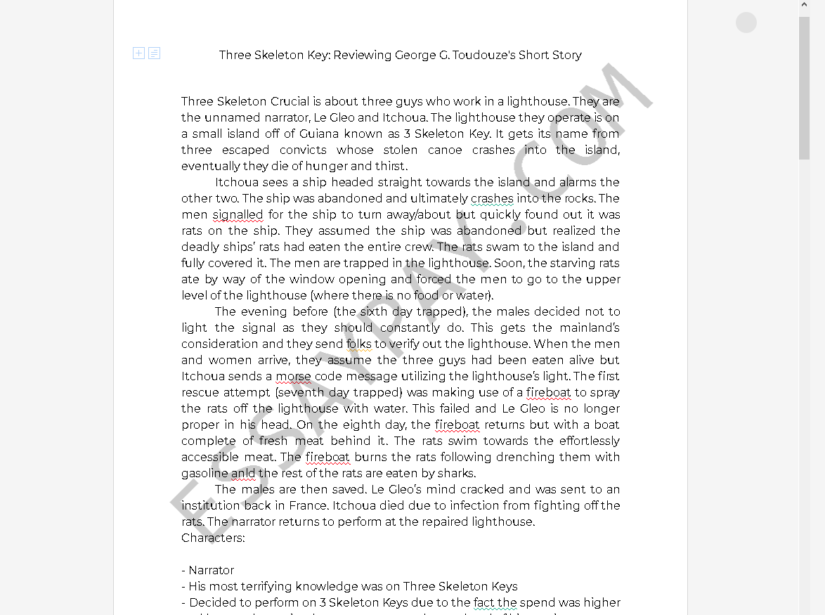 three skeleton key characters - Free Essay Example