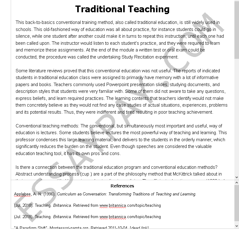 traditional teaching - Free Essay Example