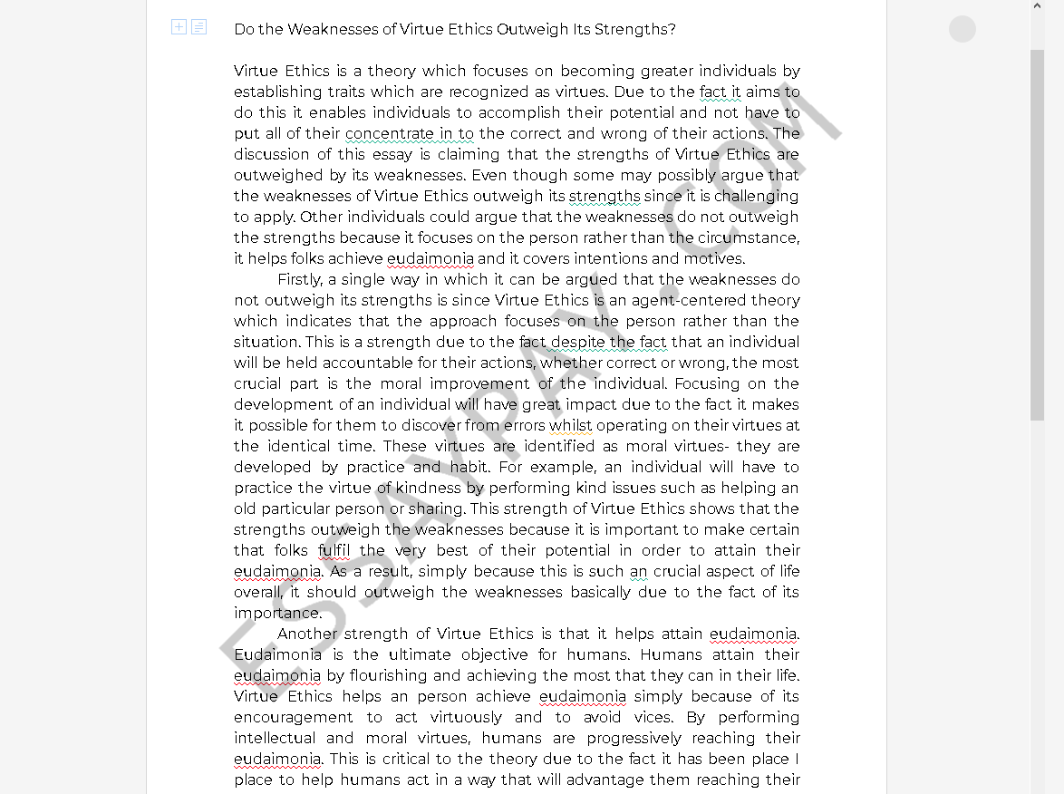 virtue ethics strengths and weaknesses - Free Essay Example