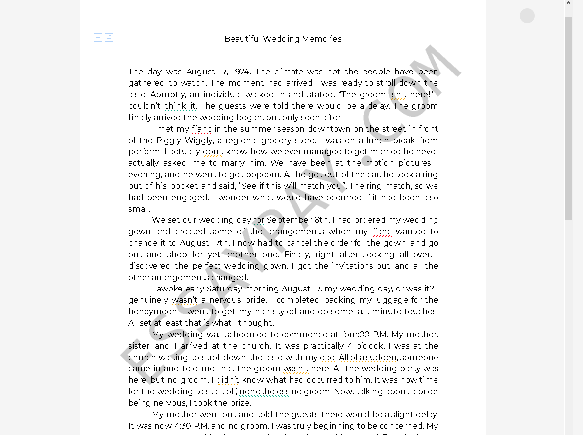 wedding essay - Free Essay Example