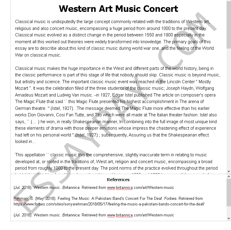 western art music concert - Free Essay Example