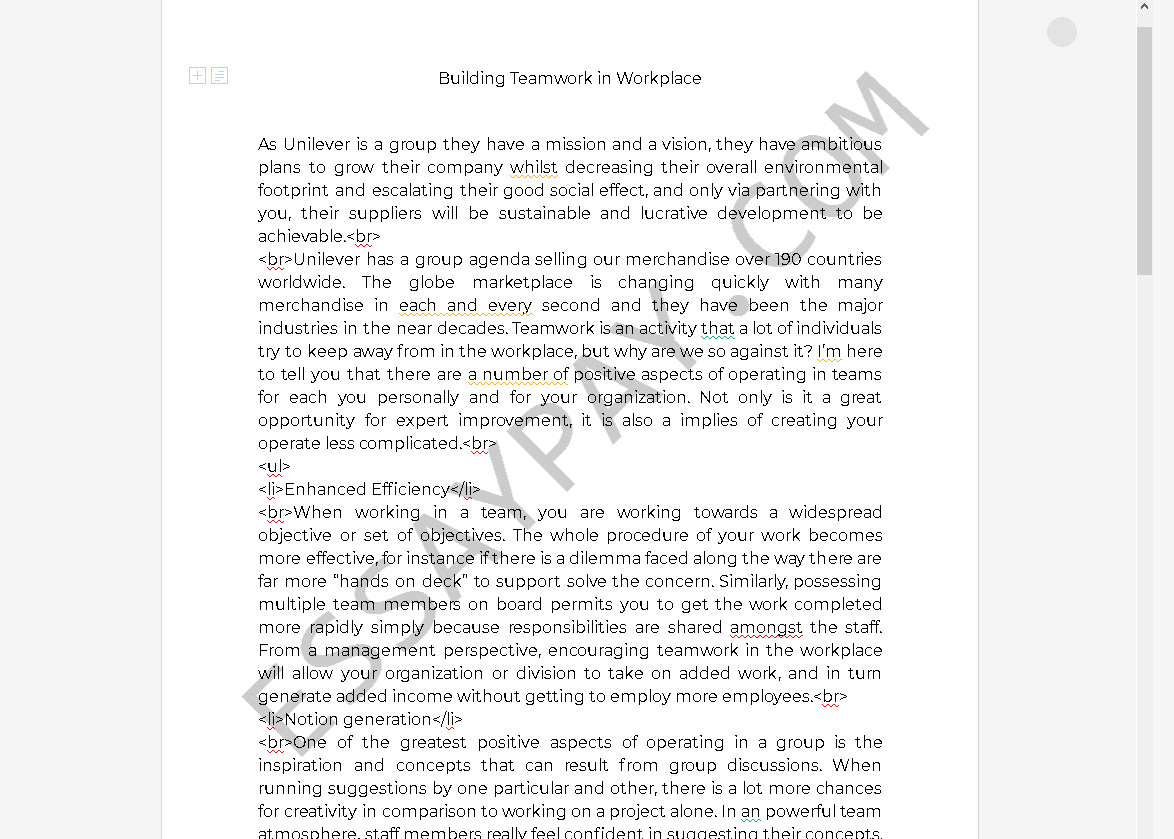 what is an example of building teamwork - Free Essay Example