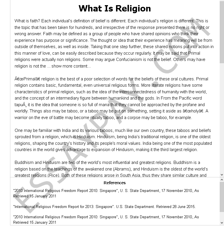 What is religion essay