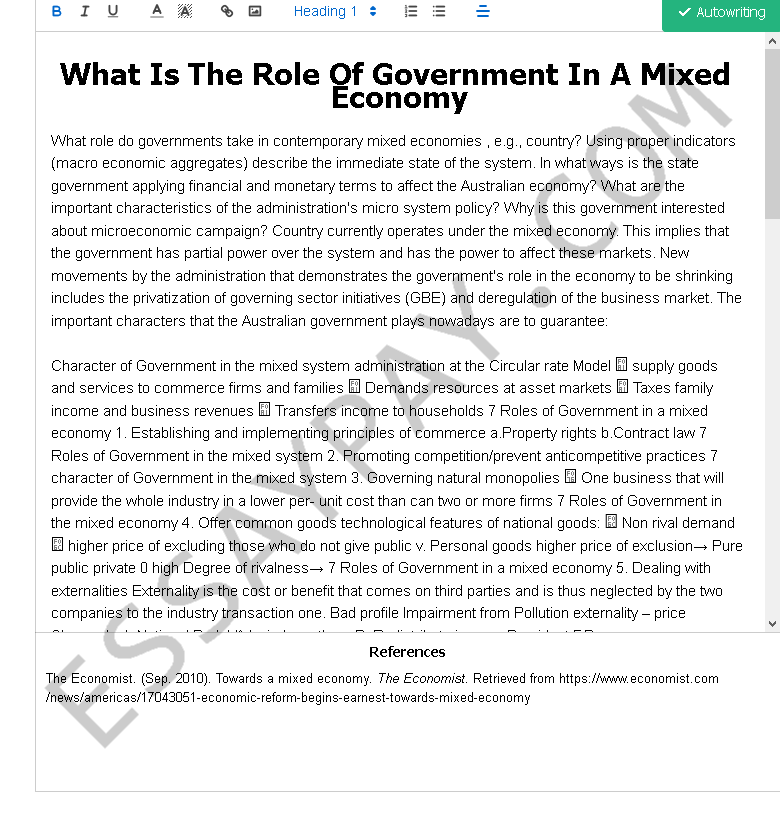 Mixed economy essay