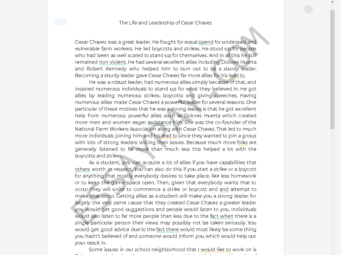 what made cesar chavez an effective leader essay - Free Essay Example