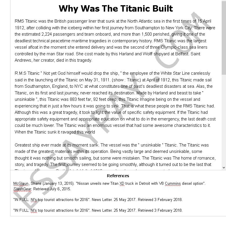 why was the titanic built - Free Essay Example