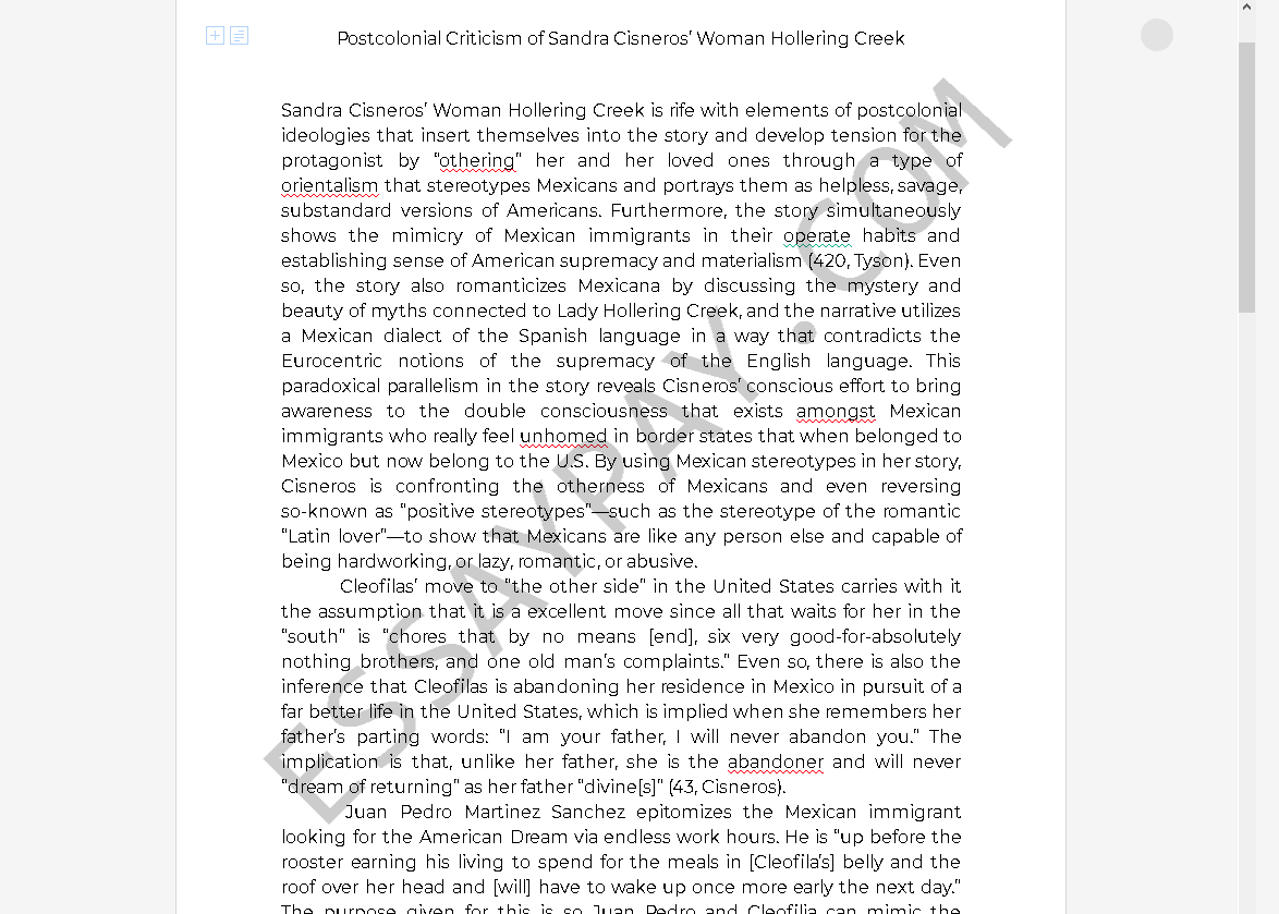 woman hollering creek analysis essay - Free Essay Example